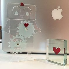 Our iconic red heart that we used in our original red heart token is featured in the top cog of these Exclusive Robots designed by Laura Scott. #NewDesign #NewDesigner #Love #Romance #SpaceformExclusives #UniqueGift. #Spaceform #London