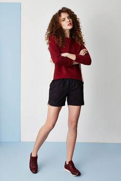 Kamila Gronner spring/summer 2015 collection. Bordeaux, marsala sweatshirt with longer back, sporty luxe shorts.