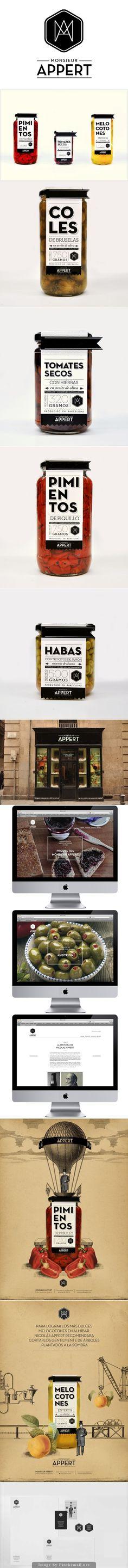 Yummy Monsieur Appert preserved fruit and vegetables identity, packaging, branding curated by Packaging Diva PD created via https://www.behance.net/gallery/Monsieur-Appert/3694165