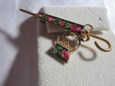 Embroidered Petit Point Umbrella and Purse Pin Brooch Vintage   eBay