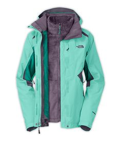 The North Face Boundary Triclimate Jacket - Women's Mint Blue/Fanfare Green/Greystone Blue 3 In 1 Jacket, Vest Jacket, Jacket Style, North Face Women, The North Face, North Faces, Winter Wear, Autumn Winter Fashion, Canada Winter