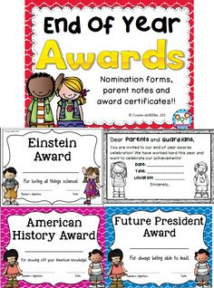 End of year awards and certificates. Comes in color and black and white. Also has a diploma for each grade level k-5!  $  #endofyear #awards #certificates #diplomas