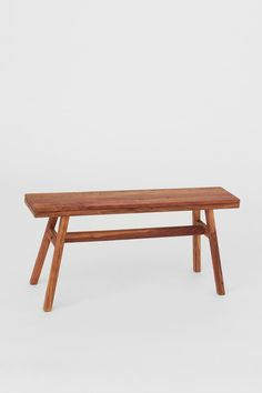 Wooden bench - Brown - Home All | H&M GB Oak Bench, Dining Bench, Hallway Shoe Storage Bench, Curved Floor Lamp, Metal Shoe Rack, H & M Home, Wood Stool, Velvet Cushions, Acacia Wood