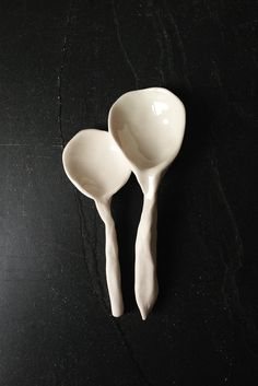 """These White Porcelain Spoons are too pretty to use, I put them in the """"Eye Candy"""" category...by PrinceDesignUK on Etsy."""