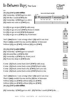 In between days - The Cure - Ukulele Ukulele Tabs, Guitar Chords, Ukulele Soprano, Music Stuff, The Cure, Lyrics, Day, Piano, Musica