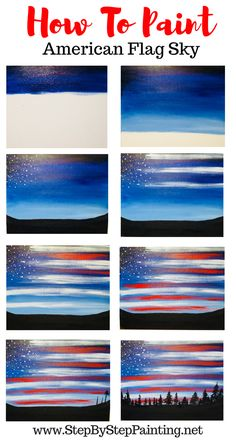 Easy and simple acrylic painting for the absolute beginner and kids. How To Paint American Flag Sky - Step By Step Painting #memorialday #fourthofjuly #flagday #veterans #stepbysteppainting