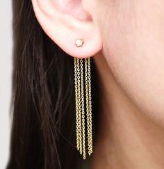 Hipster Fashion: Gold Long Chain Ear Jacket Earrings, Two Side Earr...