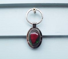 Key Chain/ Fused Glass Keychain/ Red and Green Key Chain