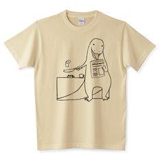 ダイナソー:朝食(黒線)|デザインTシャツ通販【Tシャツトリニティ】