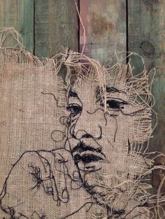 67 New Ideas Sewing Machine Drawing Thread Painting Thread Painting, Thread Art, Textile Fiber Art, Textile Artists, Portrait Art, Portraits, Sewing Machine Drawing, Textiles Sketchbook, A Level Textiles