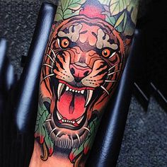 Neo Traditional Realistic Tiger Tattoo Guys Forearms                                                                                                                                                                                 More