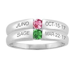 A perfect gift for Mother's Day! Choose her loved one's birthstone and engrave a name and date. You can stack multiple rings or wear one alone! One child, one ring. Two children, two rings… This engravable ring can be customized with one birthstone, either genuine or simulated, and can hold 1 to 2 engravings. Each engraving includes up to 8 characters. Available in 10k and 14k white gold, yellow gold and rose gold. Made with love in the USA.