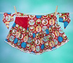 Children's Apron Dress Christmas Snow Globe Apronafore by Bibocks, $25.75