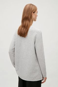 COS image 15 of Raised stitch jumper in Grey