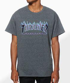 50aa5aee510 Thrasher Flame Logo Purp T-Shirt