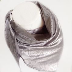 Check out Silver Satin scarf, Last Minute Gift for pet, Solid Color Scarves in Satin, Chemo Headscarves, Rodeo Competition Bandana for him on blingscarves