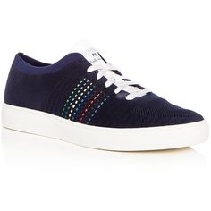 Paul Smith Men's Doyle Knit Lace Up Sneakers ($169) ❤ liked on Polyvore featuring men's fashion, men's shoes, men's sneakers, navy, mens navy blue sneakers, mens rubber sole shoes, mens lace up shoes, mens shoes and paul smith mens shoes