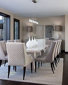 Charmant Contemporary Dining Room Design Ideas With White Marble Dining Table And  Modern Decorative Wall Arts