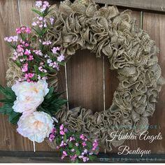 Ruffle Burlap Spring Wreath With Cream by HiddenAngelsBoutique