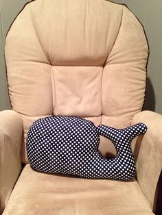 Navy Polka dot Whale Pillow for nautical themed room or nursery on Etsy, $28.00