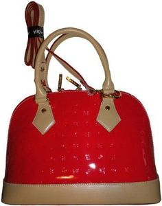 2ded7c0510d Women s Arcadia Patent Leather Purse Handbag Coral Red Natural  Amazon.co.uk