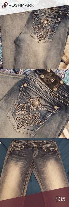 Miss Me boot cut jeans Miss Me boot cut jeans; light color; inseam 33 Miss Me Jeans Boot Cut