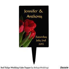 Red Tulips Wedding Cake Topper