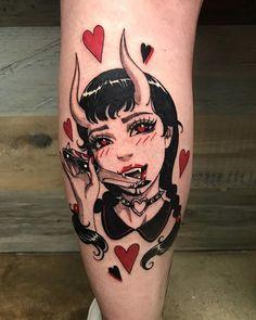 Cool Finger Tattoos, Girl Leg Tattoos, Skull Girl Tattoo, Black Ink Tattoos, Cute Tattoos, Beautiful Tattoos, Body Art Tattoos, Sleeve Tattoos, Angel Demon Tattoo