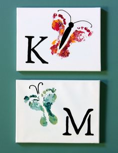 Butterfly Footprint Art on Canvas or Tile - (link) too cute and the kids will have fun doing it!