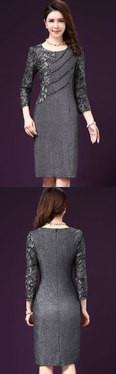 Women's Plus Size Casual/Daily Street chic Sheath Dress,Print Round Neck Knee-length 3/4 Length Sleeves Dress