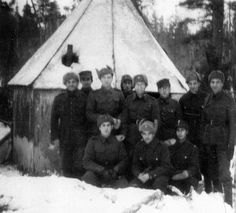 Jewish Finnish soldiers infront of their field synagogue at Svir river during the Winter War. Later during the Continuation War, when Finland fought side by side with Nazi Germany, over 350 Finnish Jews served in the Finnish army with 23 of them killed in action. Two or three were even awarded the Iron Cross (all declined).