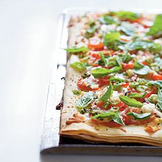 25 Best Vegetarian Recipes | Phyllo Pizza with Feta, Basil, and Tomatoes | CookingLight.com Pizza Recipes, Dinner Recipes, Cooking Recipes, Basil Recipes, Phyllo Recipes, Veggie Recipes, Cooking Tips, Best Vegetarian Recipes, Healthy Recipes