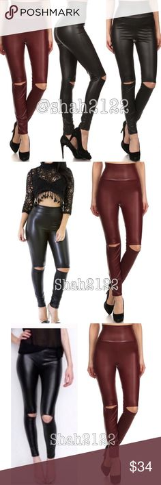 """Wine high waist cut out slit faux leather leggings New without tags retails. only burgundy is available  ❌PRICE IS FIRM UNLESS BUNDLED❌.    Deep burgundy wine high waisted cutout, slit ripped knee Faux leather look leggings. High waist. Medium weight,  Stretchy fabric. Perfect matte faux leather look. Fabric Polyester and spandex. Measurements taken lying flat.. (Inseam = 27-28"""") (Total Length= 38-40"""") (Front Rise = 13"""") (Back Rise =15"""")  (Small Waist =12-14"""") (Medium Waist =13-15"""") (Large…"""