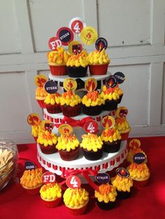 "Cupcakes for my 4 year old's ""Firetruck"" birthday party. 3 Year Old Birthday Party Boy, Fireman Party, Firefighter Birthday, 3rd Birthday Cakes, 4th Birthday Parties, Firefighter Cakes, Firefighter Wedding, Fireman Sam, Birthday Ideas"