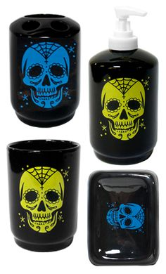 Add a little Day of the Dead flair to you your bathroom! The Sugar Ink bath set has a turquoise hand painted sugar skull on a black ceramic toothbrush holder & soap dish and a green sugar skull hand painted on a ceramic soap dispenser & rinse cup.    $16.00