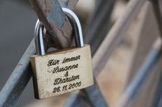 Wedding Padlock: A sign for everlasting love, inscribed with your names and wedding date, once locked, the key is thrown in a river, or attached to a balloon and let go.. Instead of a unity candle.. I LOVE THIS <3