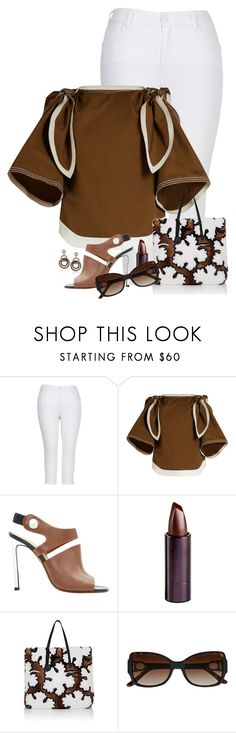"""""""Wear It in Brown and White"""" by detroitfashionista ❤ liked on Polyvore featuring Melissa McCarthy Seven7, Chloé, Carven, Serge Lutens Beauté, Fendi, La Perla, Suzy Levian, brownandwhite and plus size clothing"""