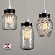 Vintage Retro Stye Glass Jar Ceiling Pendant Light Lamp Shade Lampshades Shades