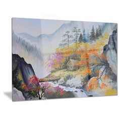 Designart 'House in the Mountains' Landscape Metal Wall Art