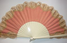 TRADITIONAL LACE BRIDAL Hand fan - any color choice. This one is Coral, Gold and Cream  Wedding Ideas!