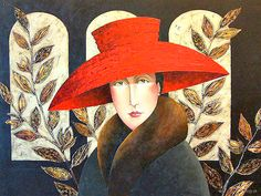 Red Hat & Leaves, by Canadian artist-singer-songwriter, Danny McBride from the band 'Vehicle' Danny Mcbride, Joe Cocker, Modigliani, Art Textile, Naive Art, Expo, Canadian Artists, Red Hats, Woman Painting
