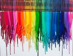 1) get a rainbow of crayons an glue onto canvas  2) whip out the hair dryer and simply melt away!
