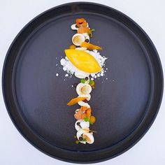 Mango/passionfruit sorbet with vanilla panna cotta, coconut snow, mango glass & mango cream. Dessert uploaded by Mango Desserts, Vanilla Desserts, Desserts Menu, Plated Desserts, Chef Cuistot, Food Plating Techniques, Mango Cream, Michelin Star Food, Thai Dessert