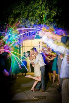 Use glow sticks instead of sparklers for a magical wedding send-off! | Lauren Wright Photo