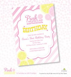 Pink Lemonade Stand Birthday Printable Party by FrogPrincePaperie