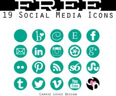 Free Social Media Buttons in a ton of great colors! Social Media Tips, Social Networks, Social Media Marketing, Web Design, Blog Design, Design Ideas, Graphic Design, Blogging, Social Media Buttons