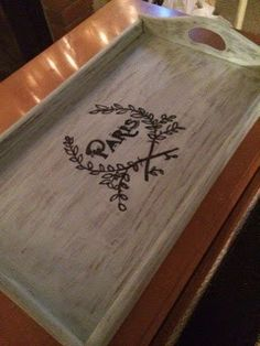 OUR CRAFTY MOM: Refinished Serving Tray Annie Sloan Louis Blue