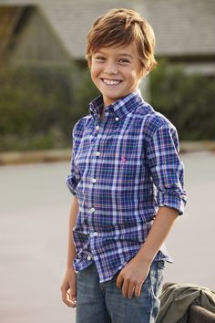 Boys Plaid Cotton Shirt