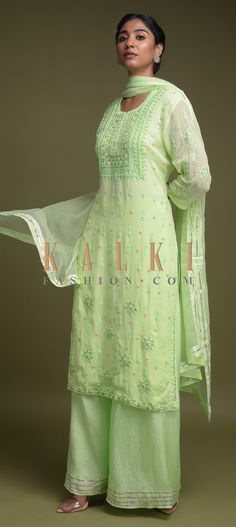 Buy Online from the link below. We ship worldwide (Free Shipping over US$100)  Click Anywhere to Tag Pastel-Green-Palazzo-Suit-In-Georgette-With-Lucknowi-Thread-And-Zardozi-Work-Online-Kalki-Fashion Palazzo Suit, Indian Attire, Online Work, Salwar Kameez, Clothing Ideas, Designer Dresses, Casual Outfits, Pastel, Tunic Tops
