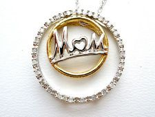 """Diamond Mom Necklace 10K Gold Circle of Love 18"""" Mother Christmas Yellow White"""